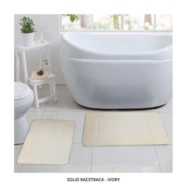 2-Piece Set: Bibb Home Plush Anti-Skid Super-Absorbent Microfiber Bath Rugs - Assorted Styles-Solid Racetrack - Ivory-Daily Steals