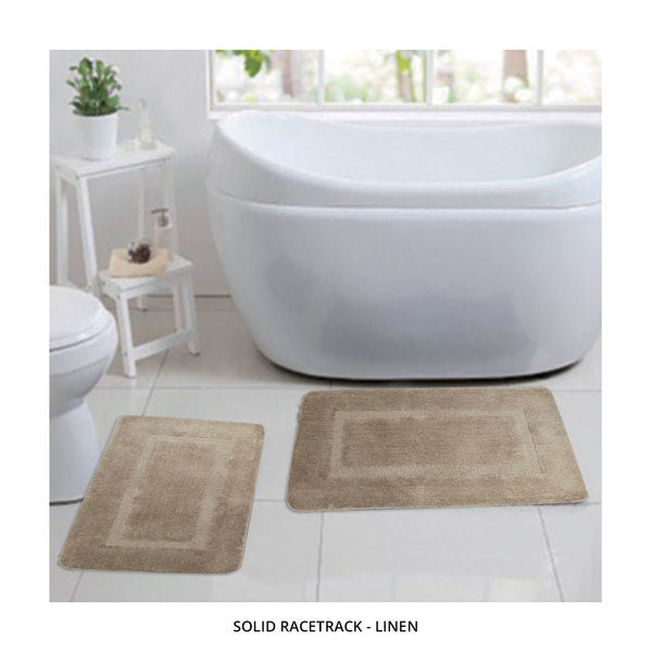 2-Piece Set: Bibb Home Plush Anti-Skid Super-Absorbent Microfiber Bath Rugs - Assorted Styles-Solid Racetrack - Linen-Daily Steals