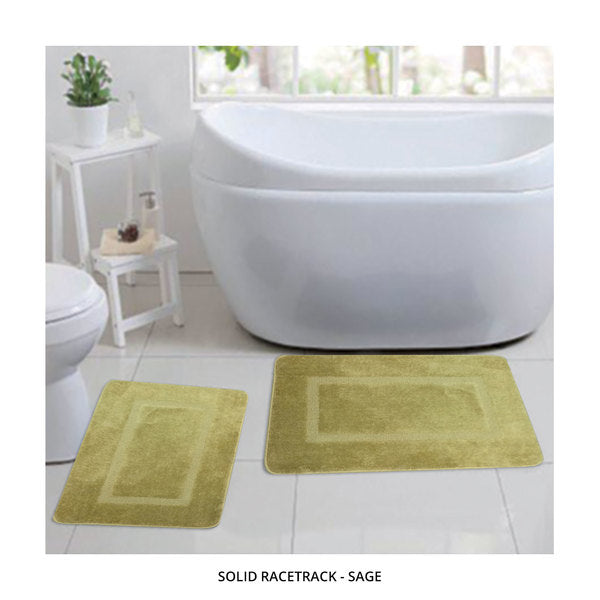 2-Piece Set: Bibb Home Plush Anti-Skid Super-Absorbent Microfiber Bath Rugs - Assorted Styles-Solid Racetrack - Sage-Daily Steals