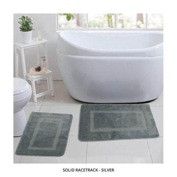 2-Piece Set: Bibb Home Plush Anti-Skid Super-Absorbent Microfiber Bath Rugs - Assorted Styles-Solid Racetrack - Silver-Daily Steals