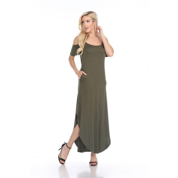WhiteMark 'Lexi' Maxi Dress-Olive-Large-Daily Steals