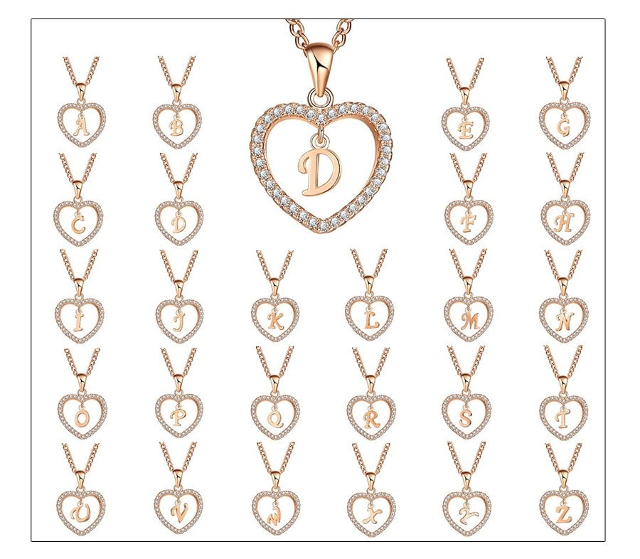 CZ Initial Heart Necklace-A-Daily Steals