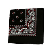 "[6 or 12 Pack] Mechaly Paisley 100% Cotton Unisex Bandanas - 22"" x 22""-Black and Red-12 pack-Daily Steals"