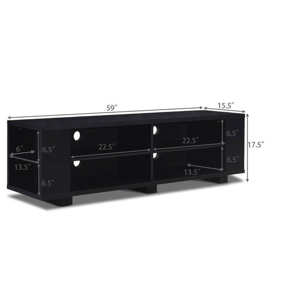 "59"" Black Console Storage Entertainment Media Wood TV Stand-"