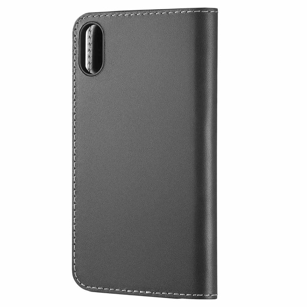 Platinum Genuine American Leather Folio Case for Apple iPhone X and XS-Charcoal-Daily Steals