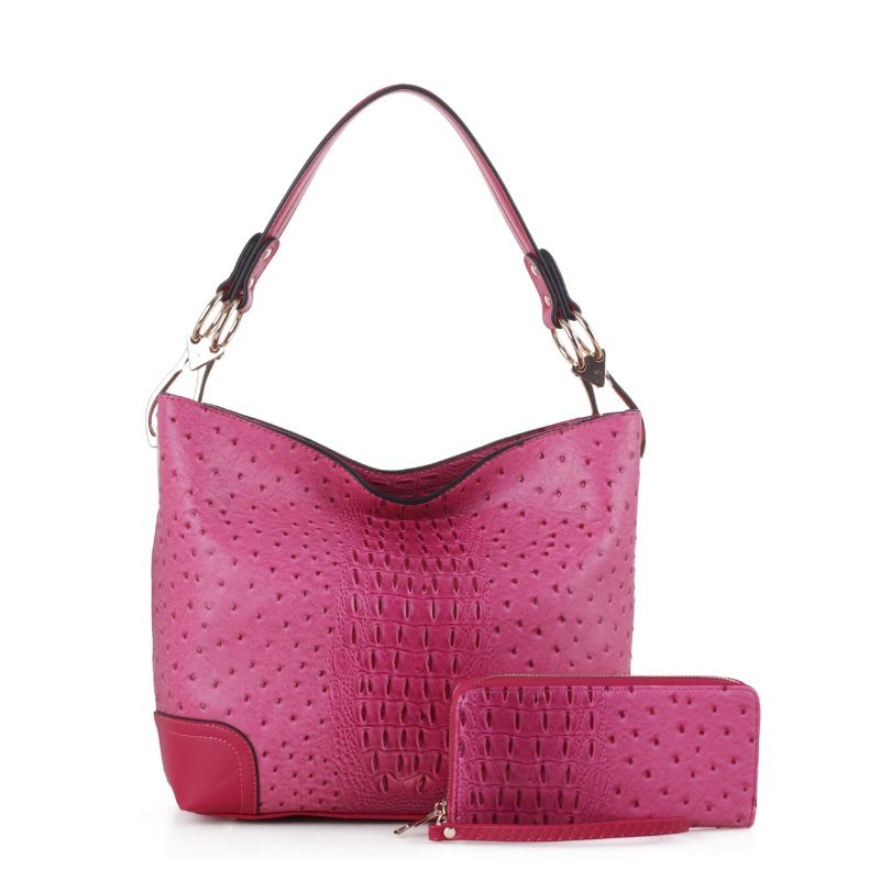 MKF Collection Wandy Hobo Sac à main et portefeuille assorti-Fuchsia-Daily Steals