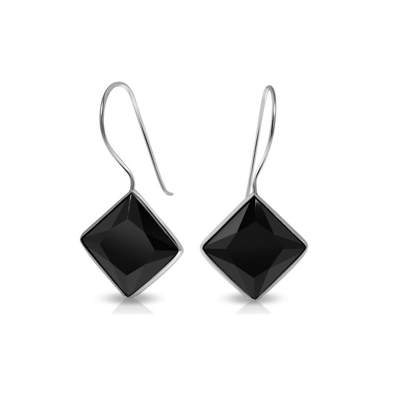 Created Black Spinel Gemstone Fish Hook Earrings in Sterling Silver-Daily Steals