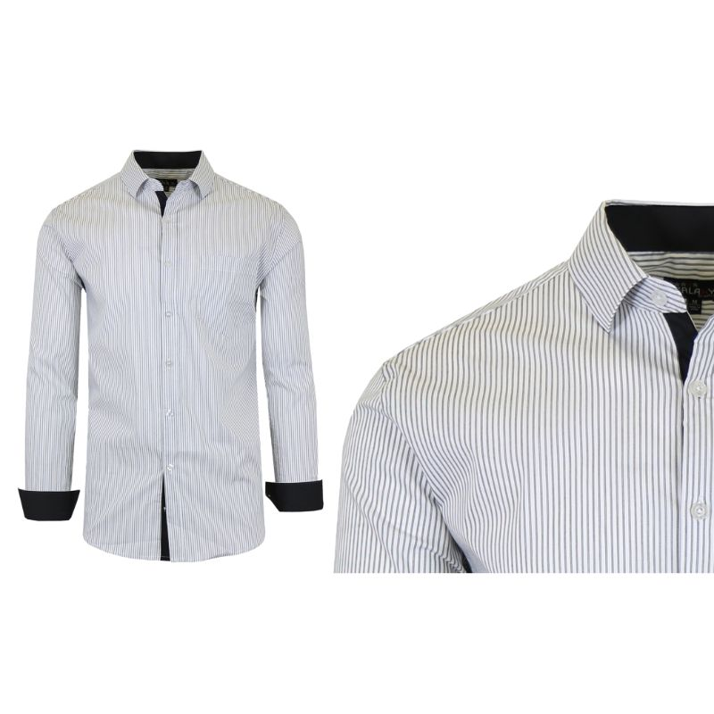 Mens Quick Dry Performance Stretch Dress Shirts-White/Black-Small-Daily Steals