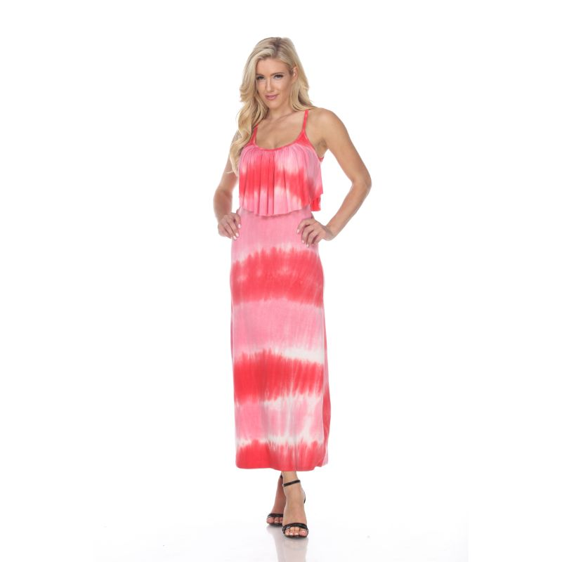 WhiteMark 'Kalea' Tie Dye Overlay Maxi Dress-Red/Pink-M-Daily Steals