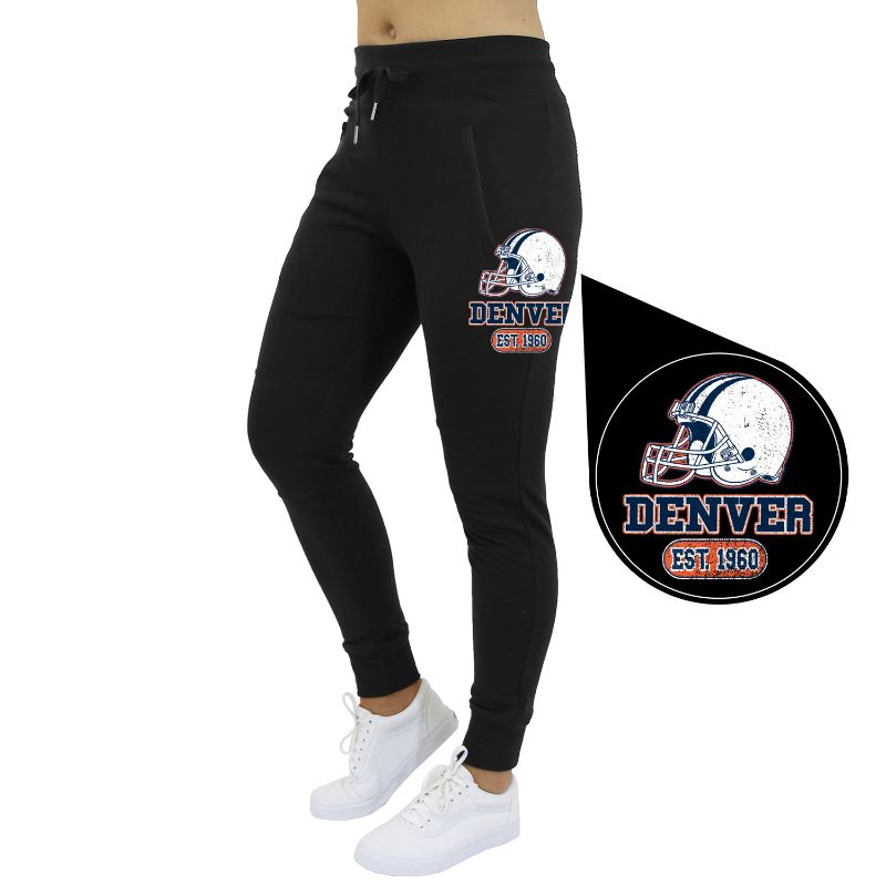 Women's Home Team Football Jogger Sweatpants-Denver - Black-S-Daily Steals