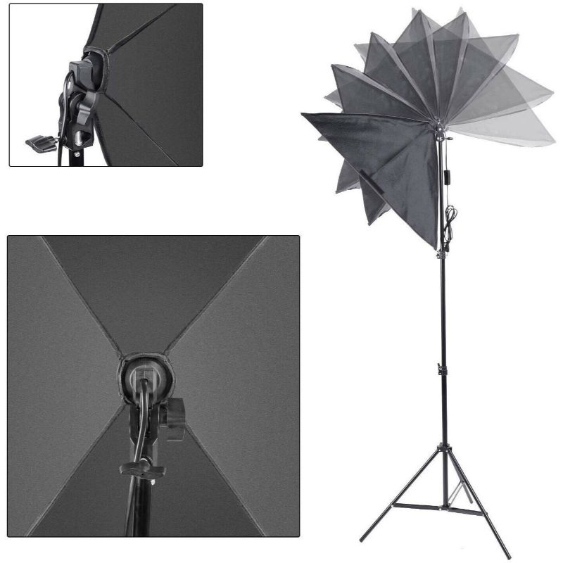 Photo Equipment Studio Softbox for Portrait Video and Shooting with 3 Bulbs-Daily Steals