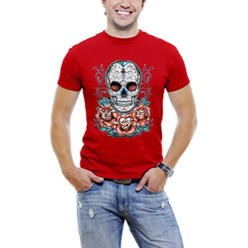 Skull Roses Tattoo - Men's T-Shirt-Red-3XL-Daily Steals