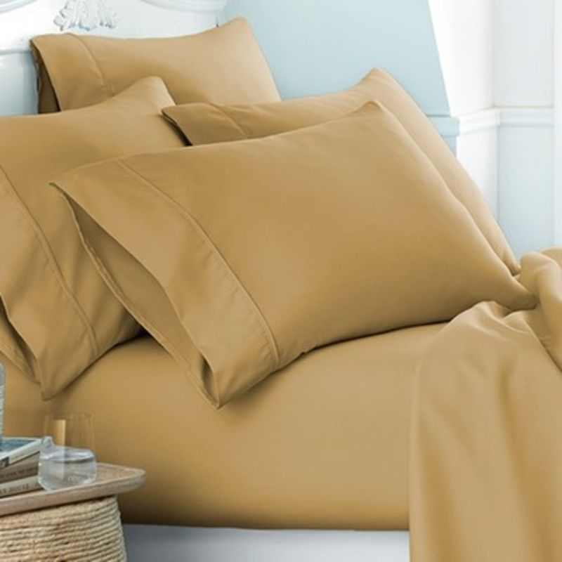 Microfiber Merit Linens Bed Sheets Sets - 6 Piece-Gold-Twin-Daily Steals