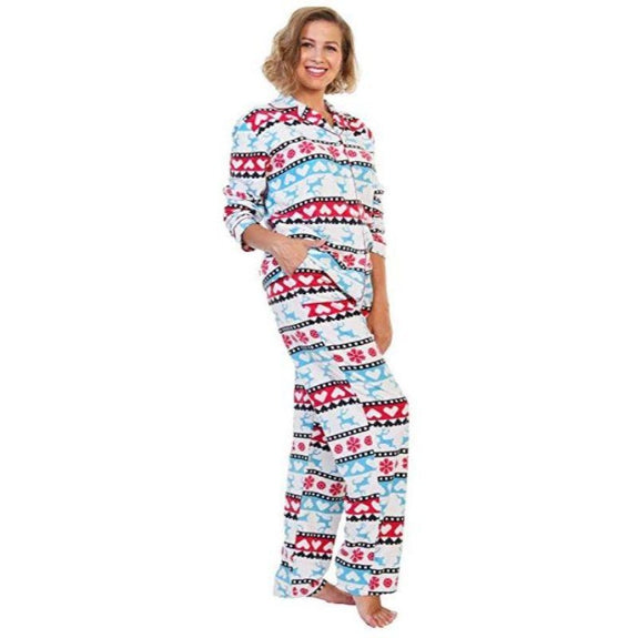 Angelina Women's Cozy Fleece Pajama Set-Christmas Fairisle Reindeer Pattern-Small-Daily Steals