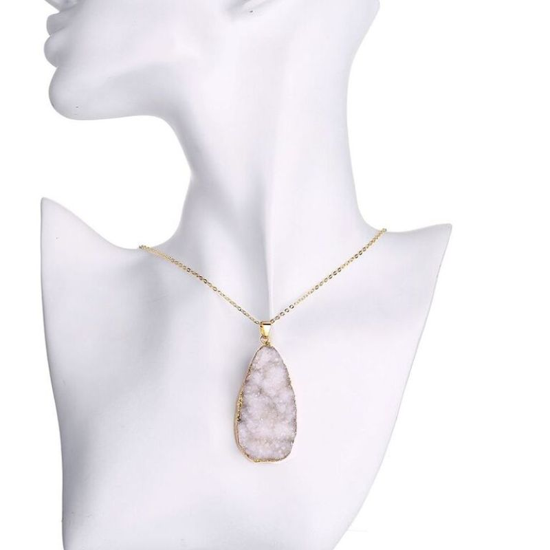White Lab Created Gemstone Necklace in 18K Gold Filled-Daily Steals