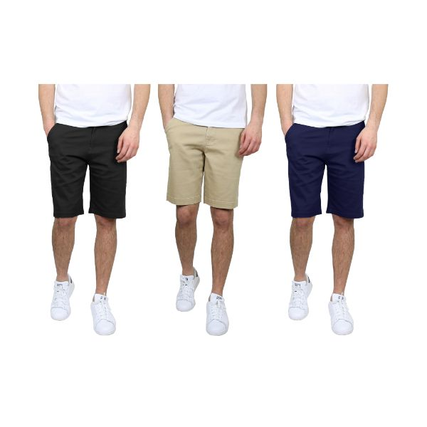 Men's 5-Pocket Flat-Front Stretch Chino Shorts - 3 Pack-Black & Khaki & Navy-30-Daily Steals