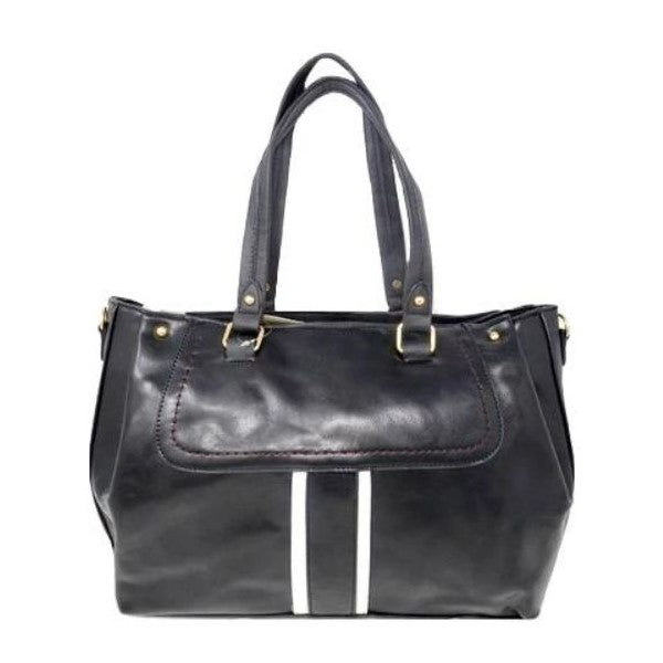 Vintage Striped Leather Tote Handbag-Black-Daily Steals