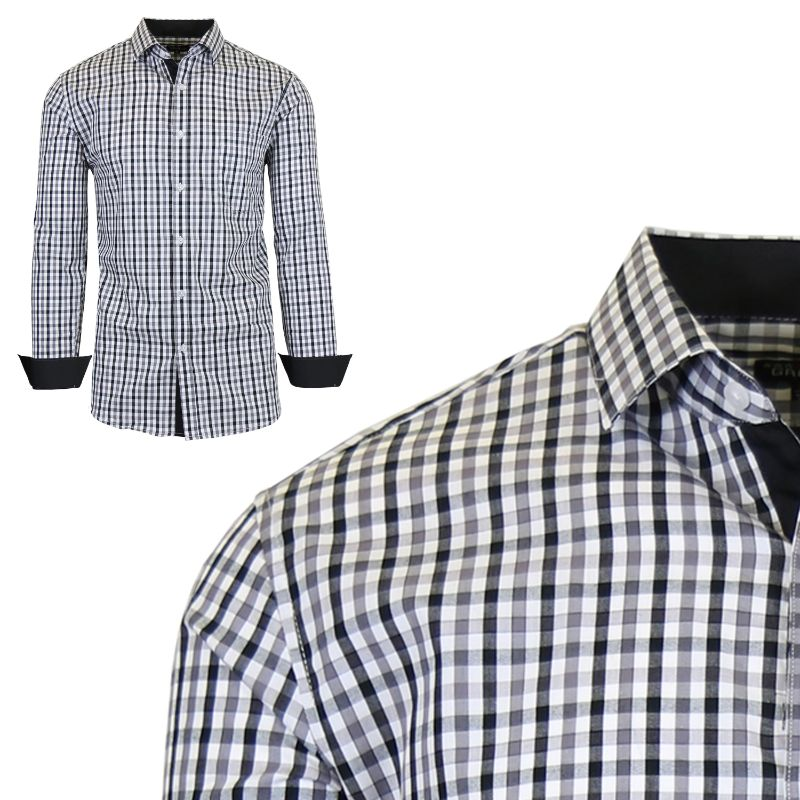 Mens Long Sleeve Slim-Fit Cotton Dress Shirts W/ Chest Pocket-Black/Grey-Small-Daily Steals