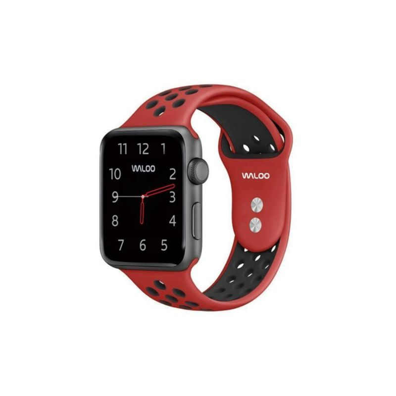 Waloo Breathable Sports Band For Apple Watch Series 1-5-Red/Black-42/44mm-Daily Steals
