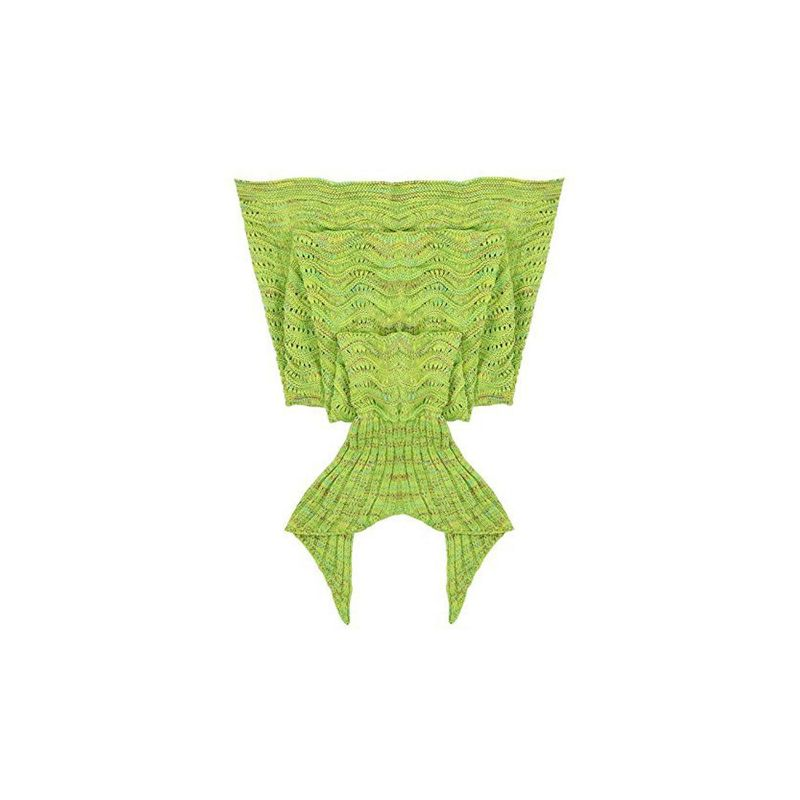 Mermaid Tail Knit Crochet Warm & Soft Blanket for Kids and Adults-Adults-Green-Daily Steals