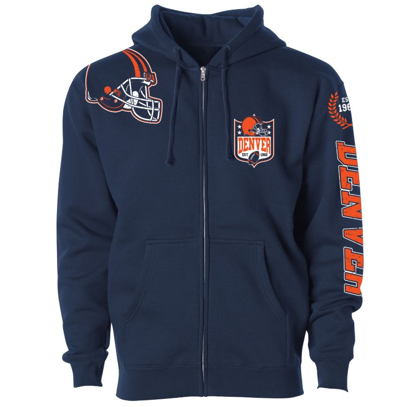 Women's Football Home Team Zip Up Hoodie-XL-Denver-Daily Steals