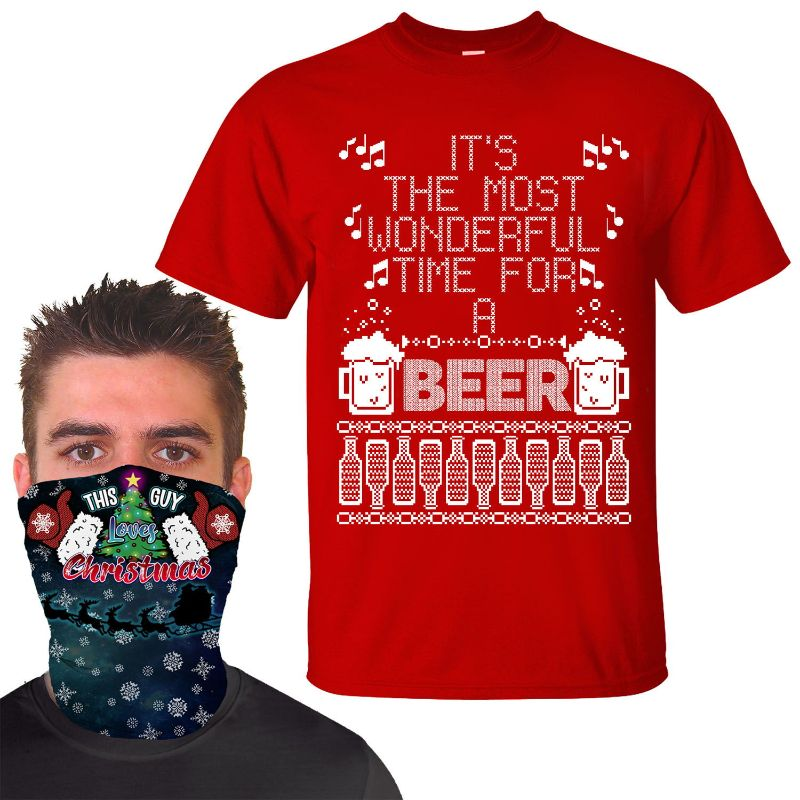 Men's Funny Christmas T-Shirt with Holiday Face Mask Gaiter