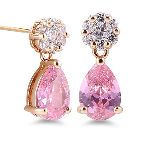 18kt Gold Plated Drop Fancy Earrings-Pink Drop-Daily Steals