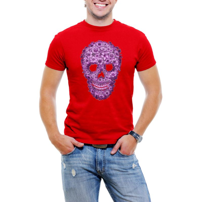 Flowered Skull Men's T-Shirt-Red-3XL-Daily Steals