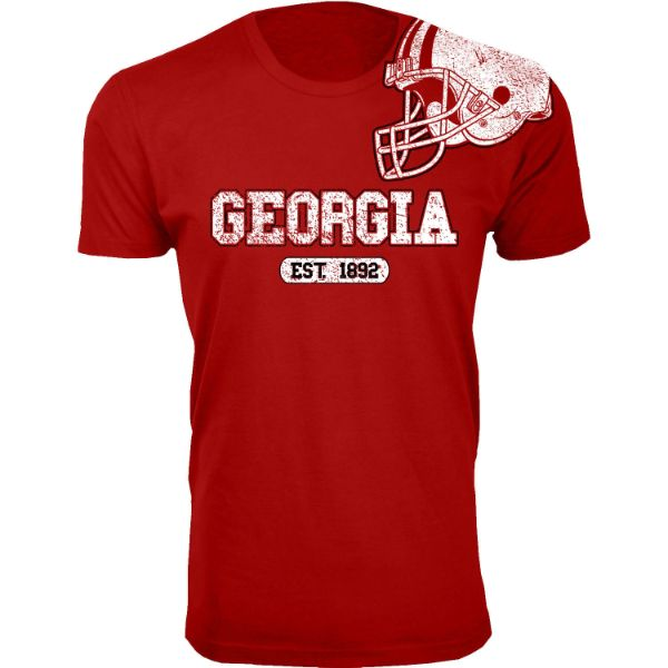 Men's Awesome College Football Helmet T-Shirts-S-Georgia - Red-Daily Steals