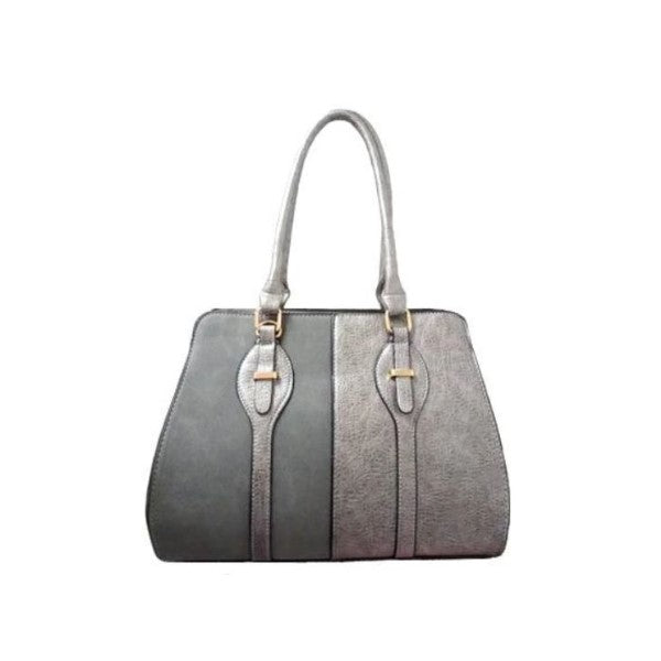 Two Tone Satchel Leather Handbag-Grey-Daily Steals