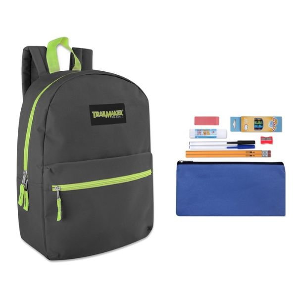 "Trailmaker Classic 17"" Backpack + 12 Piece School Supply Kit-Grey-Daily Steals"