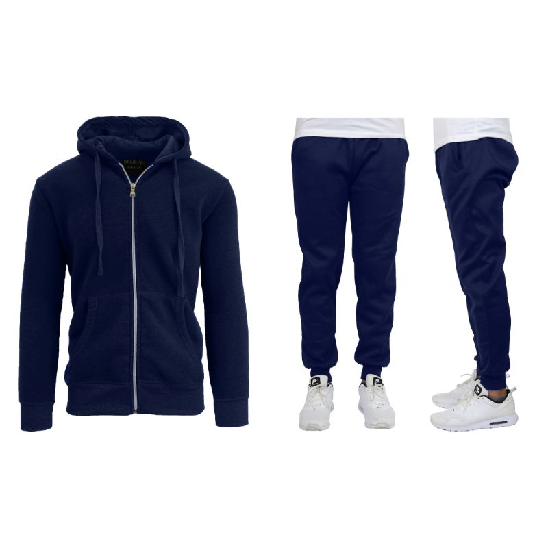 Men's Heavyweight Fleece Jogger and Heavyweight Fleece Hoodie Set-Navy-3XL-Daily Steals