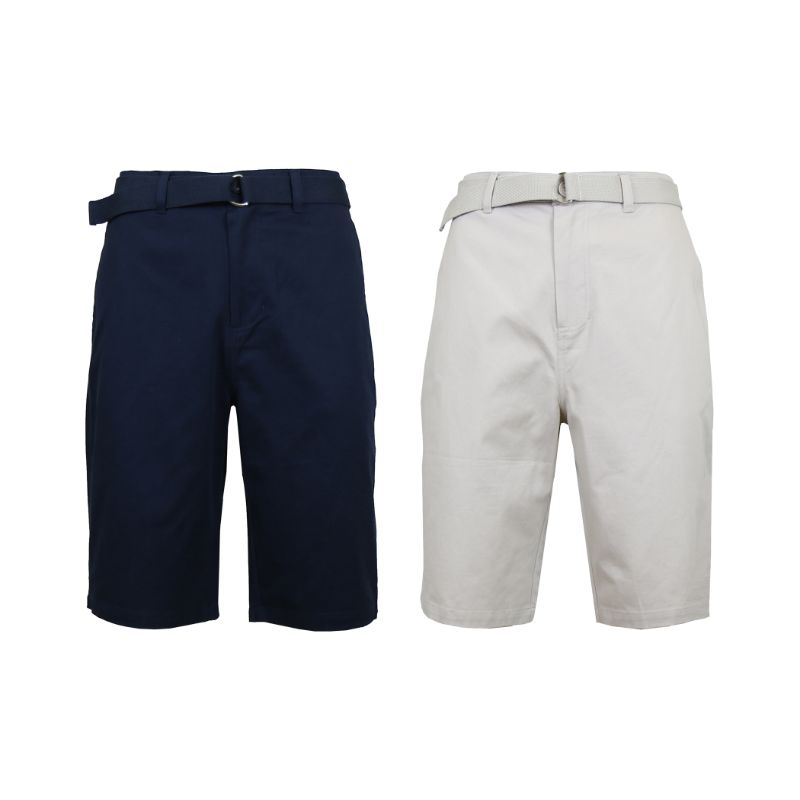 Men's Cotton Chino Shorts with Belt - 2 Pack-Navy & Sand-40-Daily Steals