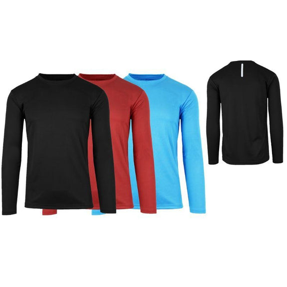 Men's Long Sleeve Moisture-Wicking Performance Crew Neck Tee - 3 Pack-Black & Red & Light Blue-Small-Daily Steals