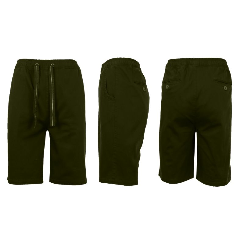 Men's Cotton Stretch Twill Jogger Shorts-Olive-L-Daily Steals