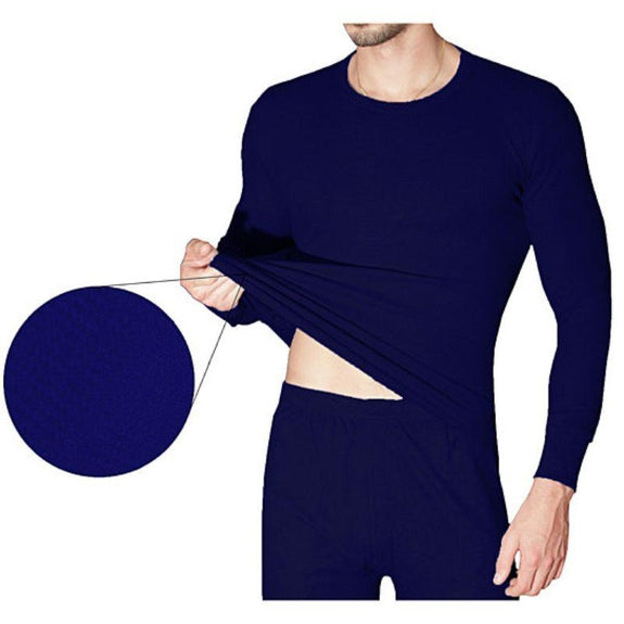 2-Piece Men's Super Soft 100% Cotton Waffle Knit Thermal Underwear Set-Navy-Small-Daily Steals