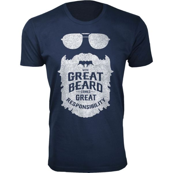 Men's 'Greatest Beard' T-shirts-S-With Great Beard Comes - Navy-Daily Steals