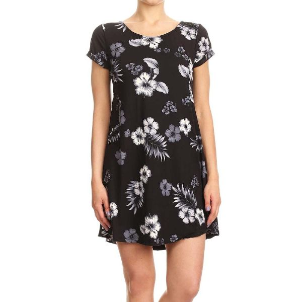Women's Short Sleeve Summer Tunic Dress-Black/Grey/White Tropical Print-Small-Daily Steals