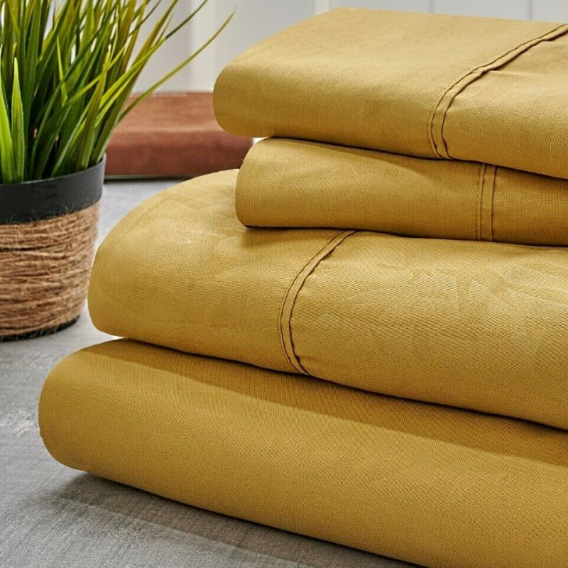Bamboo 1800 Count Embossed Design 4-Piece Sheet Set-Gold-Twin-Daily Steals
