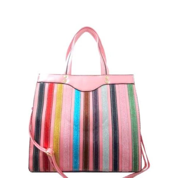 Colorful Stripe Satchel Handbag-Pink-Daily Steals