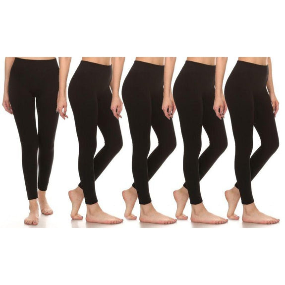 One Size Premium Fleece-Lined Leggings - 5 Pack-Black-Daily Steals