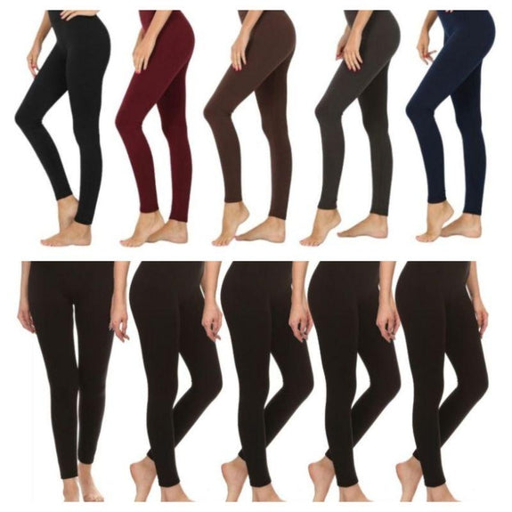 One Size Premium Fleece-Lined Leggings - 5 Pack-Daily Steals