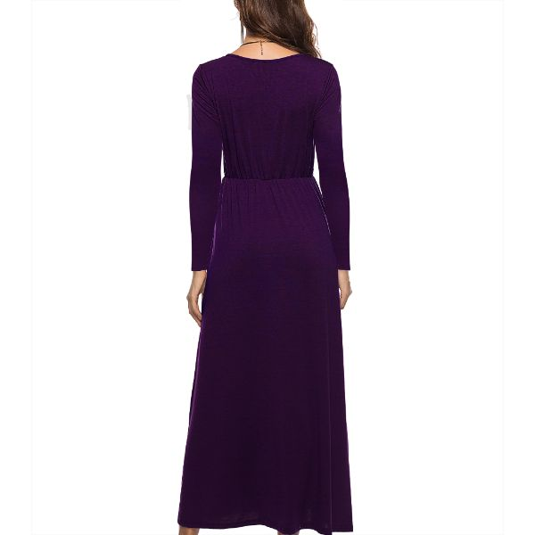 Long Sleeve Solid Maxi Dress-Daily Steals