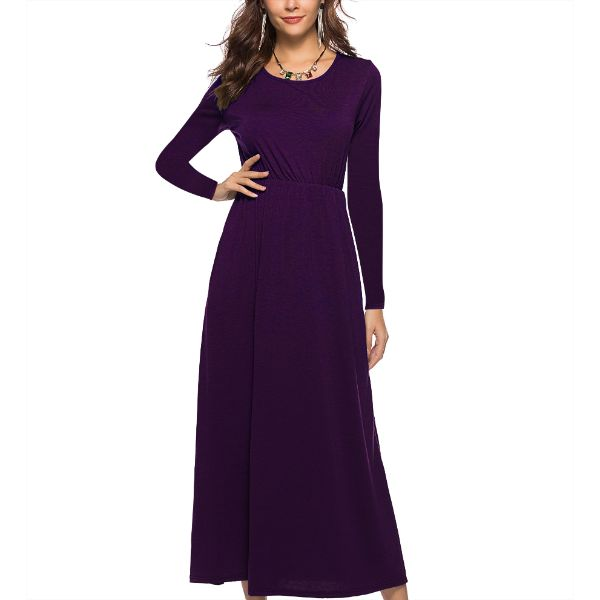 Long Sleeve Solid Maxi Dress-Purple-2X-Daily Steals
