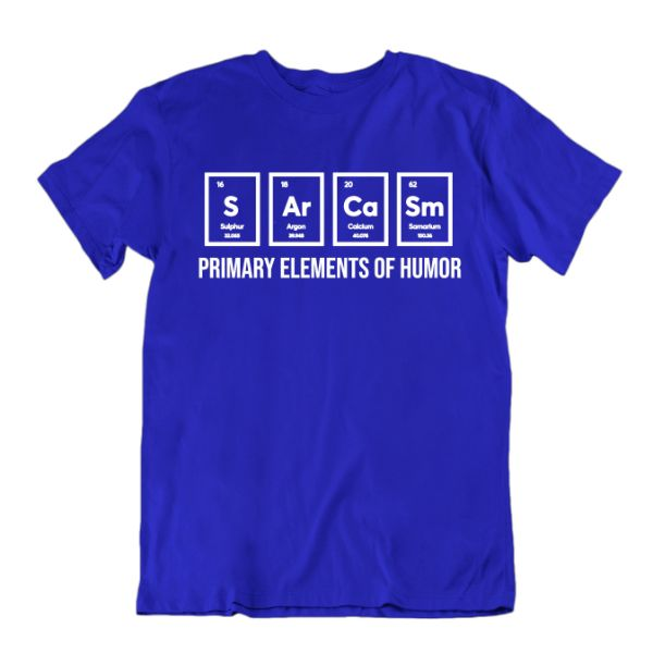 """Primary Elements of Humor"" Funny Science T-Shirt-Royal Blue-Small-Daily Steals"