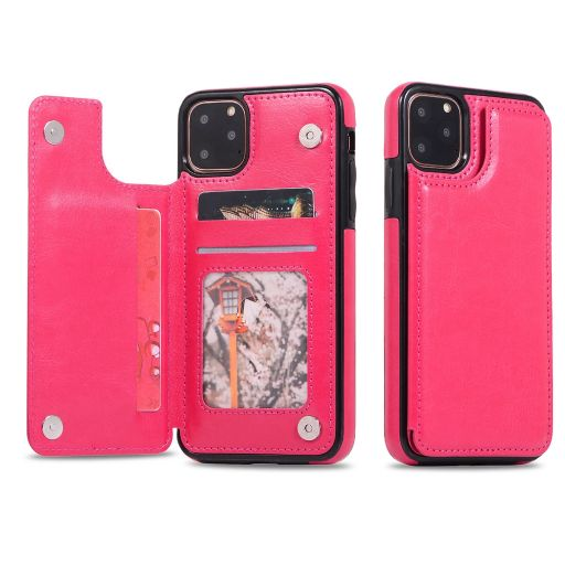 iPM Apple iPhone 11, Pro, Pro Max PU Leather Purse Protective Case-Rose Red-iPhone 11-Daily Steals