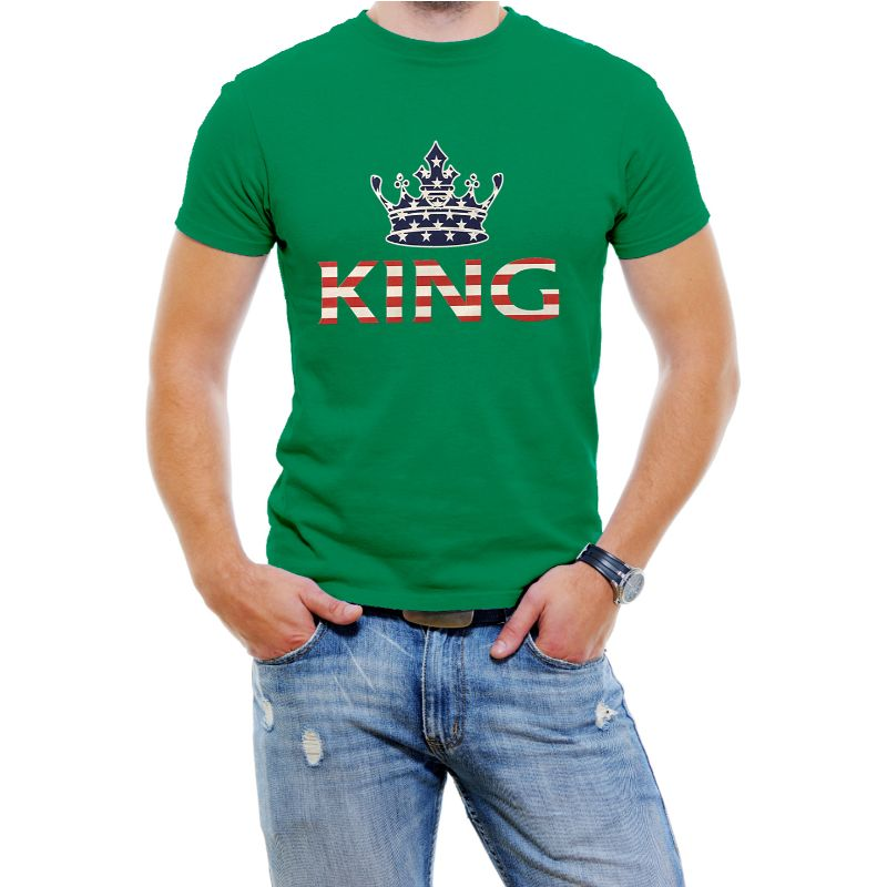 "USA Stars and Stripes ""King"" Men's T-Shirt-Green-4XL-Daily Steals"