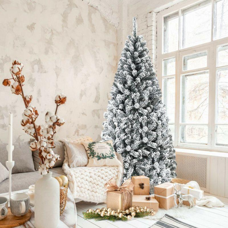 6 Feet Artificial Snow Decorated Flocked Hinged Christmas Tree-
