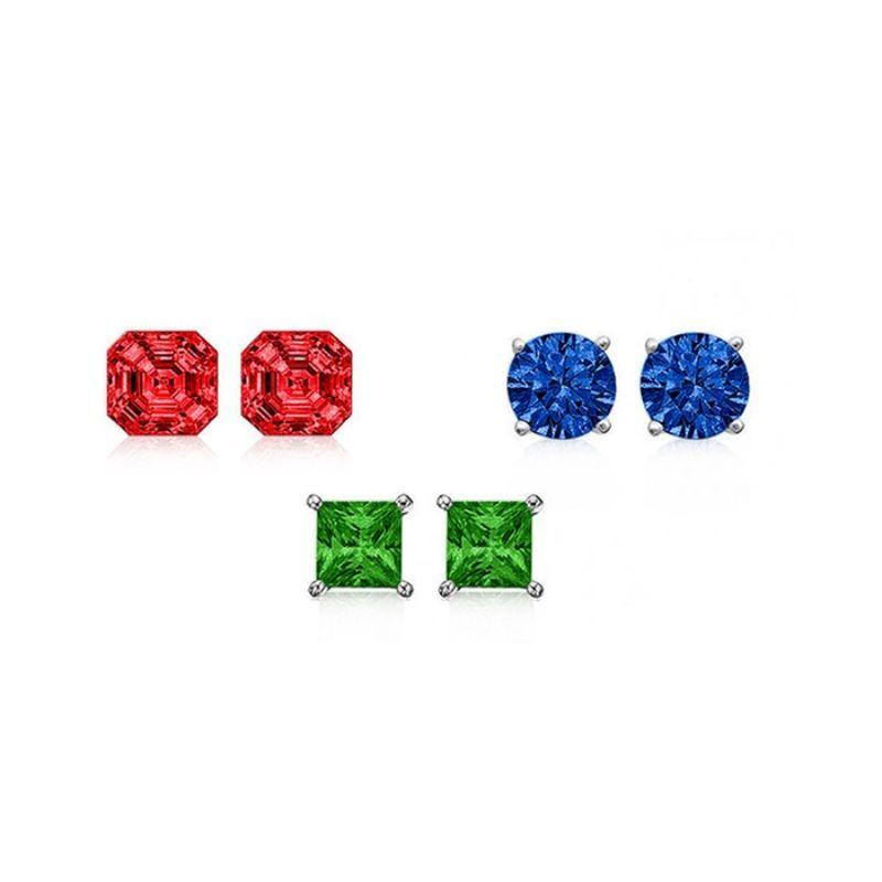 6.00 CTW Created Ruby, Blue Sapphire, Green Emerald Trio Stud Set-