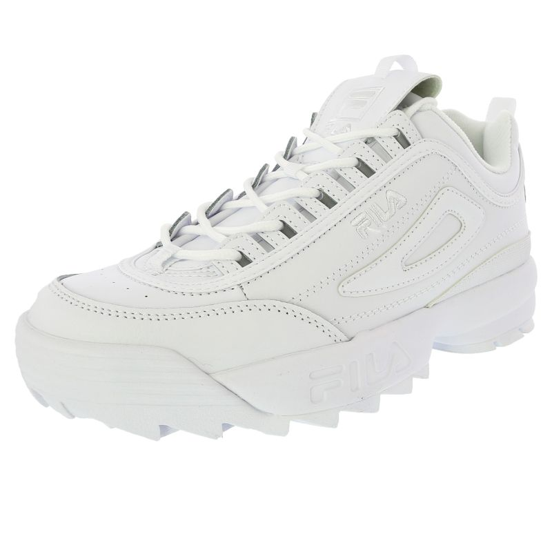 Fila Men's Disruptor Ii Premium Ankle-High Patent Leather Sneakers - White-9.5-Daily Steals